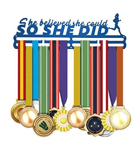 Medaillenaufhänger Auszeichnungshalter Medaillen-Ständer Metall Stahl beste Geschenke für Sport-Ehren, Blue Believed She Could, So She Did., 360 x 113 x 2.8 mm