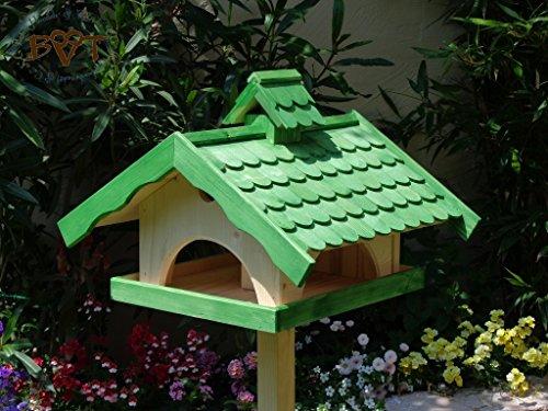 Vogelhaus XXL, vogelhäuschen BTV-VONI5-LOTUS-LEFA-gras002 Robustes, stabiles wetterfestes PREMIUM Vogelhaus mit wasserabweisender LOTUS-BESCHICHTUNG VOGELFUTTERHAUS + Nistkasten 100% KOMBI MIT NISTHILFE für Vögel , FUTTERHAUS für Vögel, WINTERFEST - MIT FUTTERSCHACHT Futtervorrat, Vogelfutter-Station Farbe grasgrün grün kräftig tannengrün/natur, Ausführung Naturholz MIT TIEFEM WETTERSCHUTZ-DACH für trockenes Futter, Schreinerarbeit aus Vollholz
