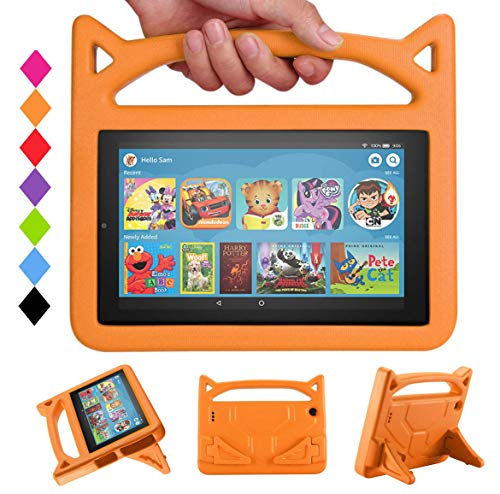 2019 New 7 Inch Case Kids - DJ&RPPQ Kids Shockproof Foam [Kids Friendly] Case with Stand Cat Ear Handle Kids Cover for 7 Tablet (Compatible with 9th/7th Generation, 2019/2017 Release) - Orange