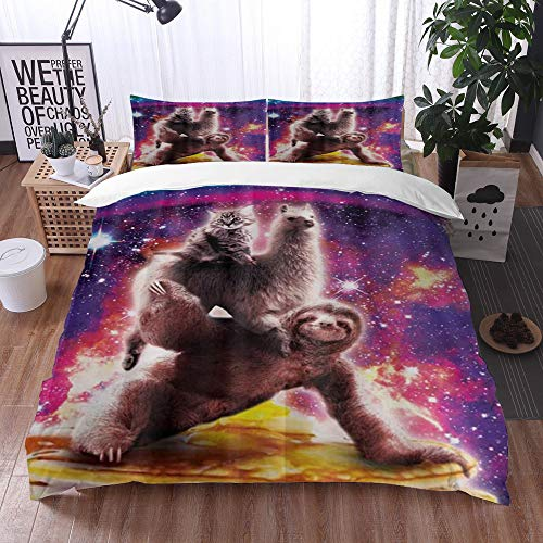 Mingdao bedding - Duvet Cover Set, Cat and Alpaca Riding on The Sloth,Microfibre Duvet Cover Set 135 x 200 cmwith 2 Pillowcase 50 X 80cm