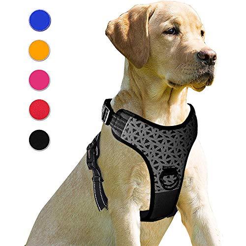 Supet Hundegeschirr mit Frontring Anti Zug Geschirr Hund Atmungsaktiv Einstellbare Brustgeschirr mit Griff Geschirr für Grosse Mittelgroße Kleine Hunde