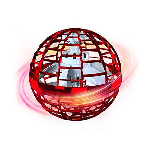 魔法のLED ブーメラン 子供向け 360度回転 自動回避障害機能 USB充電式 手動で操作できる 無限スピン UFOドローン おもちゃ スイングボール/フライングディスク 6歳以上の子供に向け 大人にも使用できる クリスマスプレゼント ギフト (赤)