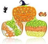 Wulcea Halloween Pop Fidget Toys Push It Pack Antiestres Up Niños Sensoriales Juguete Adultos Cosas Regalo para Alumnos Popit Popis POPI Its Niña Niño 3 Piezas Calabaza
