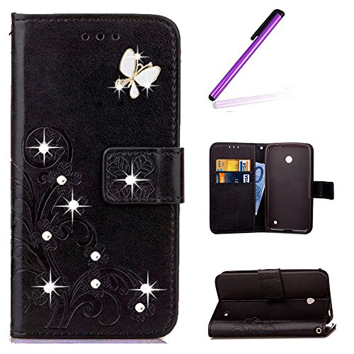 EMAXELERS Nokia Lumia 630 Hülle PU Lederhülle Handyhülle Flip Glitzer asche Brieftasche Bumper mit Kartenfächer Wallet Tasche Etui für Nokia Lumia 630/635,Diamond Black Clover with Diamond