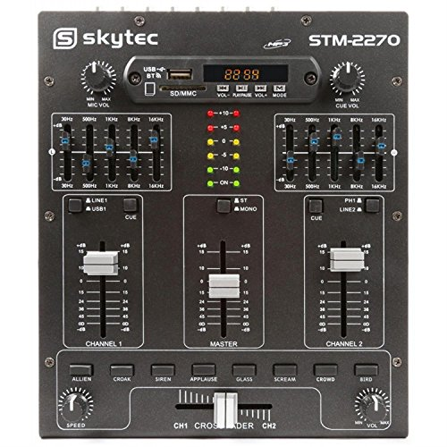 Skytec STM2270 Table de Mixage DJ 4 canaux - MP3/USB/SD , Streaming Audio Bluetooth , 8 effets sons...