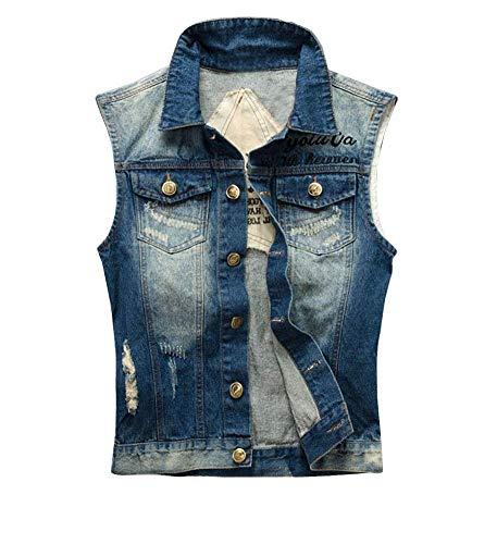 Laisla fashion Herren Weste Rmellose Jeansjacke Jeansweste Slim Fit Zerrissen Jeans Weste Classic Outwear Einfache Jeansweste Metallschnalle Breasted Jeans Weste Jungs (Color : Blau, Size : 2XL)
