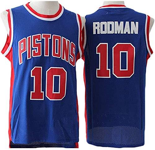 XSJY Jersey De Los Hombres De La NBA - Detroit Pistons # 10 Dennis Rodman Edition Jersey, Unisex Retro Bordado Malla Jersey,B,L:175~180cm/75~85kg