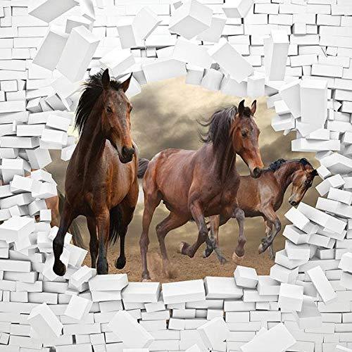 FORWALL Fototapete Tapete 3D Pferde und Ziegelwand P4 (254cm. x 184cm.) AMF10606P4 Wandtapete Design Tapete