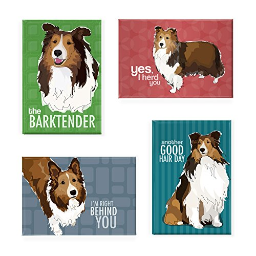 Sheltie Gifts Set of 4 Refrigerator Magnets with Funny Sayings,...