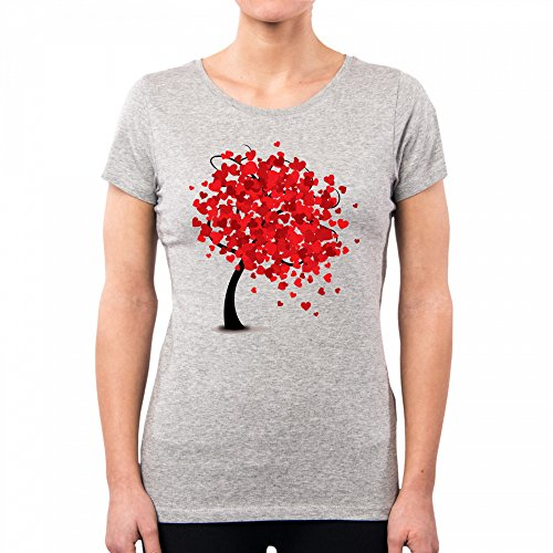 T-SHIRT vrouw zoete boom liefde hart BIO VEGAN FASHION snoepjes VINTAGE NE0141A PACDESIGN - S, lichtgrijs
