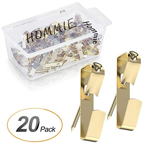20 Pcs Heavy Duty Picture Hangers with Nails, Hommie Professional 100lbs Picture Photo Frame Hooks Large Picture Hanging Kit on Drywall/Wooden Hanging Hardware for Pictures,Canvas,Mirror (100LB)