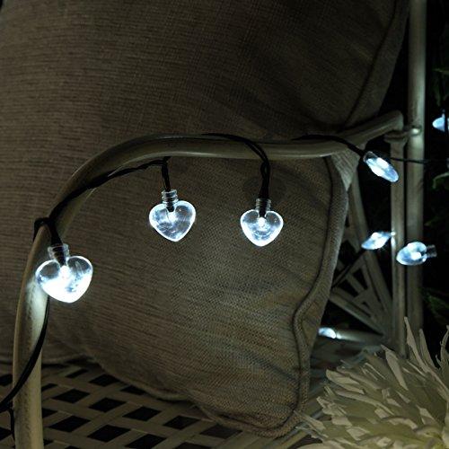 Festive Lights Guirlande Solaire Cœur 50 LED 5 Mètres (Blanc)