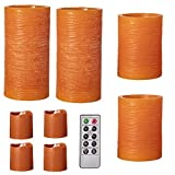 Darice, Orange Battery-Operated LED Candle Set: Pumpkin Scented, Color, Remote Included, 9 Pieces