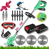 Strimmers Cordless Grass Trimmer Electric 21v Garden Edge Trimmer With Heavy Duty metal blade strimmer And Battery lawn edger Adjustable Head And Telescopic Handle ,For Lawn Trimming
