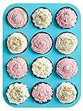 HelpCuisine® Teglia Muffin/Stampo Antiaderente per 12 Muffin/Teglia per Cupcake/dolcetti Realizzata in Silicone Alimentare di Alta qualità, Antiaderente e Privo di BPA, 12 stampini, Colore Blu