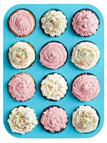 HelpCuisine moulessilicone Muffins/Moule à Muffins pour 12 Muffins, Plaque à Muffins 12 moules en Silicone Alimentaire sans BPA Réutilisables Ecologiques Antiadhésifs, 24 Mois de Garantie!