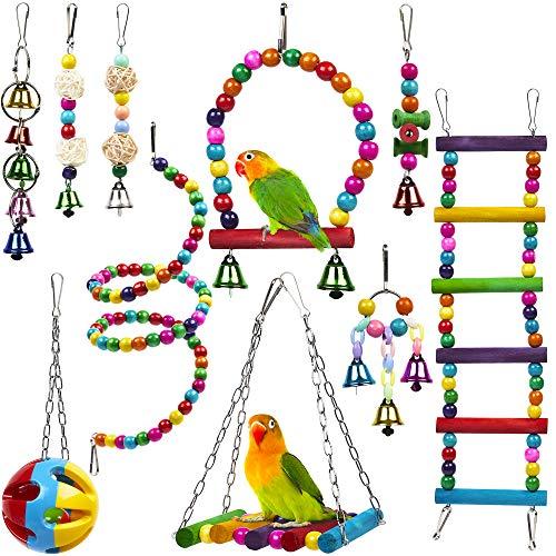 10 Juguetes para Pájaros para Loros, Periquitos, Pinzones, Periquitos, Agapornis, Ninfas, Canarios y Cacatúas - Colorido, Confiable y Masticable| Columpios Escalera Madera Puente Perchas Campana etc