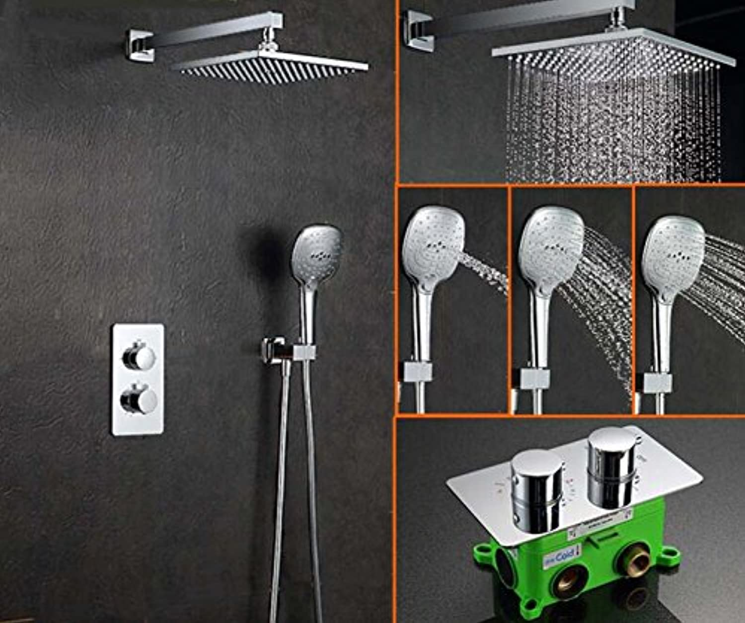 Free shipping In-Wall Faucet Two Functions Embedded Box Thermostatic Mixer Valve 10 inch Shower Set with Shower Head SS052