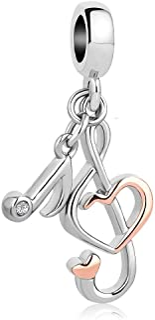 Q&Locket Love Music Notes Charm Dangle Beads for Bracelets