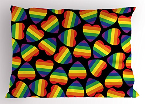 Ambesonne Pride Pillow Sham, Rainbow Colored Striped Heart Shapes on Black Backdrop Gay Lesbian Love Parade Print, Decorative Standard Size Printed Pillowcase, 26' X 20', Multicolor