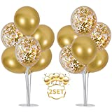 Balloons Stand Kit Table Decorations,2 Set with 14 Sticks, 14 Cups, 2 Base, 16 Gold Balloons for Wedding Graduation 30th 40th 50th 60th 70th 80th 90th 100th birthday table decorations