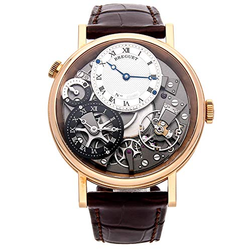 Breguet Tradition GMT Manual Skeletal Dial Leather Mens Watch 7067BRG19W6