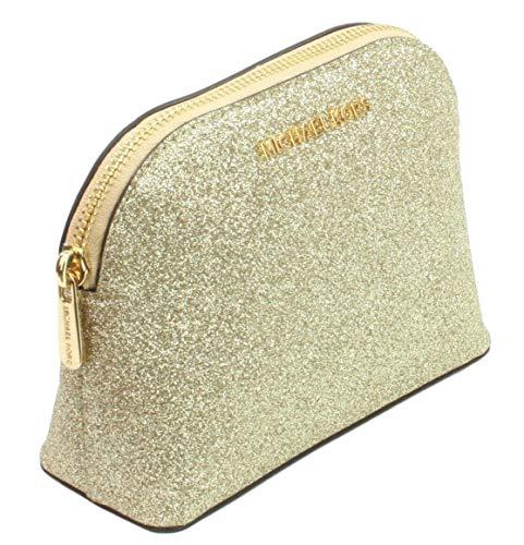 Michael Kors Make-up-Tasche, Reisetasche, Glitzer, Leder Gold Pale Gold S