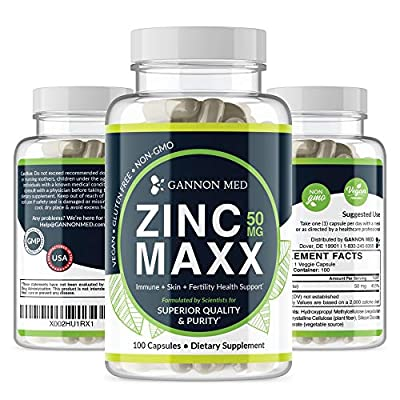 Zinc Maxx - Maximum Zinc Gluconate 50 mg per dose - 100 Day Supply - High Potency & Absorbance - Gentle On Stomach - Professional Grade - Antioxidant - Vegan - Additive Free - Non-GMO - USA