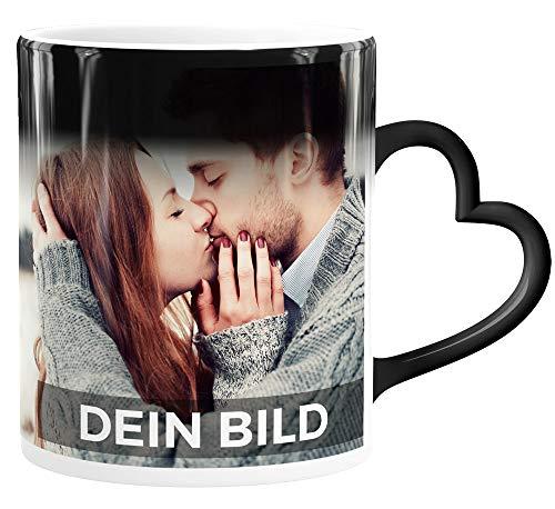 SpecialMe® Zaubertasse Herzhenkel Farbwechsel Tasse mit eigenem Foto Geschenkideen Liebe personalisierte Geschenke weiß Magic-Herz-Tasse