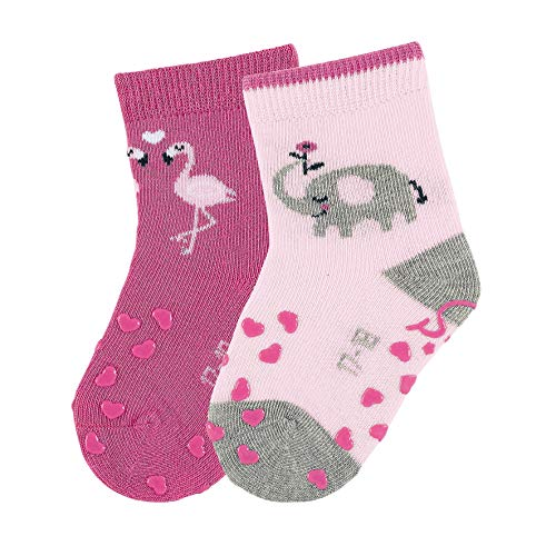 Sterntaler ABS-Krabbelsöckchen, Doppelpack, Elefanten-Motiv, Größe: 18, Rosa
