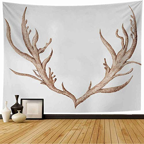 Staroind Tapestry Animal Watercolor Horns Painting Creative Isolated Tribal Antlers Buffalo Head Deer Drawing Elk Wall Tapestry Bedspread Picnic Sheet Wall Decor 80x60 Inch