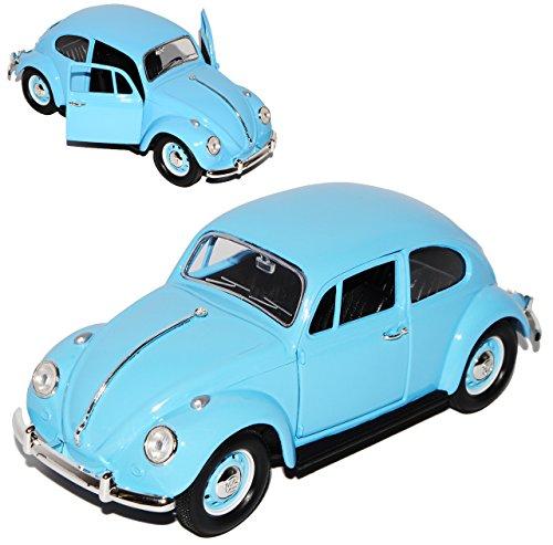 Lucky Die Cast Volkwagen Käfer Coupe Hell Blau mit Blauen Radkappen 1967 1/24 Yatming Modell Auto mit individiuellem Wunschkennzeichen