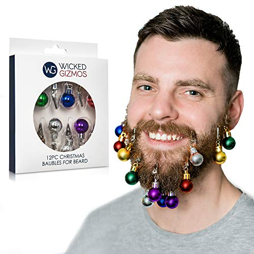WICKED GIZMOS 12 Multi Coloured Mini Christmas Hair and Beard Decoration Baubles with Crocodile Clips – The Classic Novelty Fun Festive Fantastic Party Accessory or Secret Santa Gift