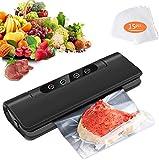 Sellador automático de alimentos para alimentos secos/húmedos, carne, verduras, 15 bolsas de papel de 20 x 25 cm, color negro Sellador al vacío -1