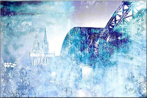 120x80cm Köln blau weiß türkis violett abstrakt Kunstdruck von Paul Sinus Art - Leinwandbild fertig auf Keilrahmen, tolle Optik - Deutsche Qualität - moderne stilvolle Dekobilder und Designs für Ihr Wohnzimmer, Schlafzimmer Büro usw. ideal auch als Geschenk zu Geburtstag, Ostern, Weihnachten, Hochzeiten etc. - günstig und werthaltig zugleich - Bilder zum Träumen