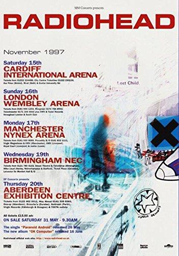 Desconocido Póster de la película A Moon Shaped Pool 014 (A5-A4-A3) de Radiohaid Ok Computer 1997 Arena Tour, A5