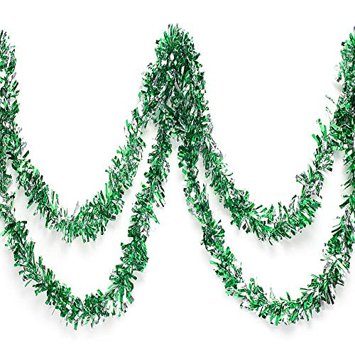 Anderson's Green and Silver Metallic Tinsel Twist Garland 4 inches Wide x 25 ft Long