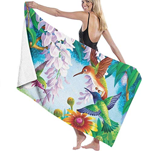 NA Badetuch Wrap Kolibri Fly Prints Womens Spa Dusche und Wrap Handtücher Schwimmen Bademantel Cover Up für Damen Mädchen - Weiß