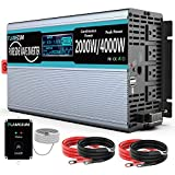 Power Inverter 2000W Pure Sine Wave Inverters 12V DC to 110V/120V AC Converter-4 AC Outlets Car Inverter with 2 USB Port-Remote Control and LCD Display Dual Cooling Fans for CPAP RV -Solar System