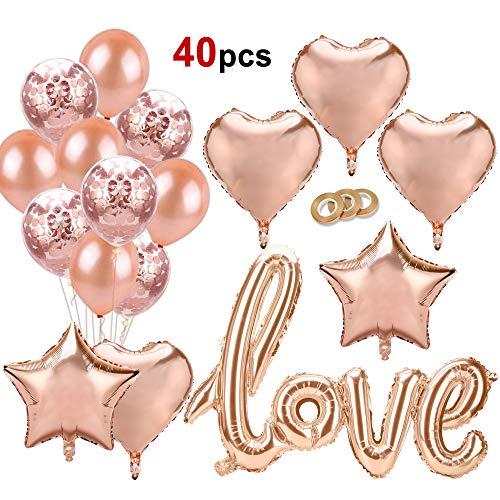 HOWAF Oro Rosa Globos Decoración, Oro Rosa Confetti Globos Látex Globos de Aluminio Love Estrella Corazón Globos de Helio para Bodas, cumpleaños, San Valentín decoración Suministros favores
