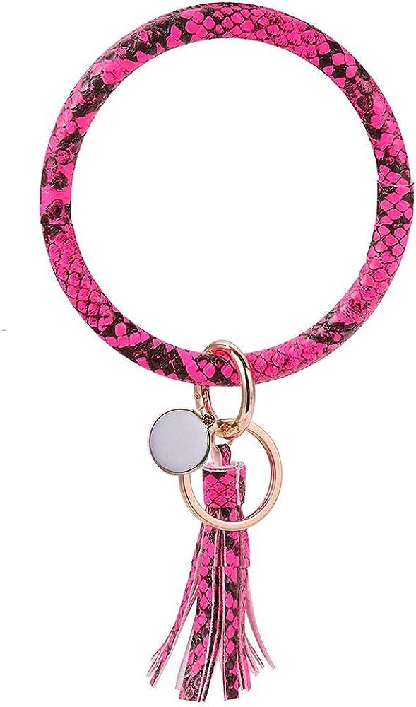 Keychain Leather Bracelet Key Bargain sale Ring Circle Recommendation Large Bangle Wr Tassel