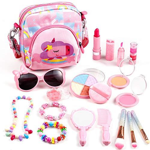 Auney Kit de Maquillaje Niñas, 18 Piezas de Juguete de Maquillaje Cosméticos Lavables, Regalo de Princesa para Niñas de 3 4 5 6 7 8 años