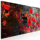 murando Cuadro en Lienzo Amapolas 120x40 cm Impresión de 1 Pieza Material Tejido no Tejido Impresión Artística Imagen Gráfica Decoracion de Pared - Flores Plantas como Pintado Rojo Negro b-A-0752-b-a