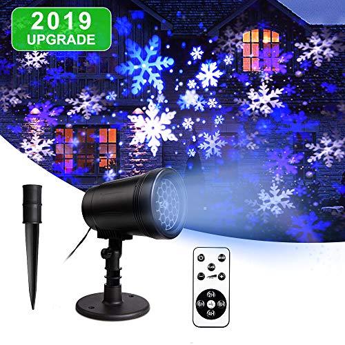 LED Projektionslampe Schneeflocke im Garten Licht Innen-Außen Stimmungsbeleuchtung fur WeihnachtenSchneeprojektor Ip65 wasserdicht Dekoration(Blau&weiβ)