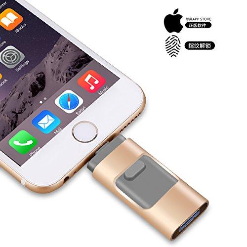 Memorias USB 3.0 para iPhone OTG Pen-Drive Memoria, unidad de pulgar Lightning Memory Stick Almacenamiento Externo, Expansión de memoria para Apple IOS Android dorado 128 GB
