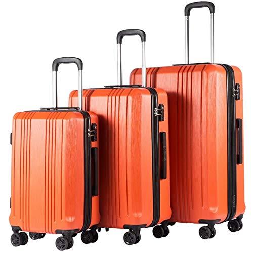 Travel Tolley Case Luggage Suitcase Set Spinner Mute Wheels Women Men Rolling Luggage 20 24 28 Inch 3 Piece Set Orange 28'