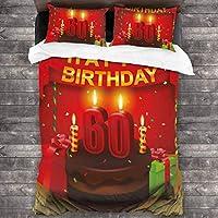 ROSECNY 布団カバー シングル4点セット,カラフルな誕生日パーティーケーキプリント,枕カバー 掛け布団カバーあったか おしゃれ かわいい柔らかい肌に優しい