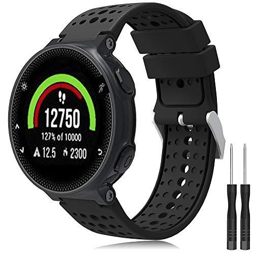 TOPsic Armband für Garmin Forerunner 235/220 / 230/620 / 630/735 - Silikon Ersatz-Uhrenarmband Einstellbar Armband Wechselarmband für Forerunner 235 WHR Laufuhr