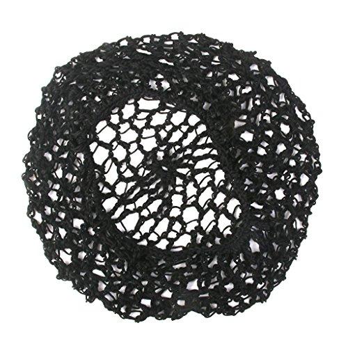 dailymall 1Pcs Femmes Soft Rayon Snood Hair Net Crochet Hairnet Cap - Noir