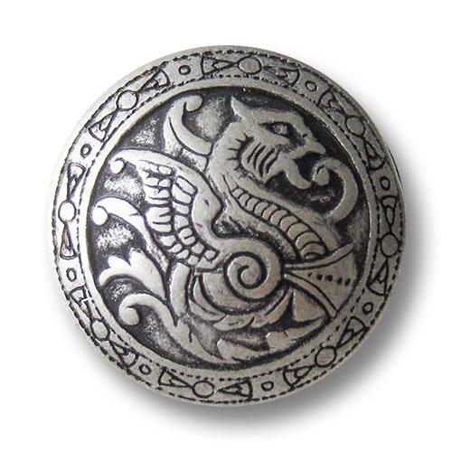 Knopfparadies (0331as) – 8er Set Umwerfend schöne Metallknöpfe mit Drachen Muster, Altsilber (geschwärzt), gewölbt mit mittelalterlich wirkendem Muster/Durchmesser: ca. 21mm